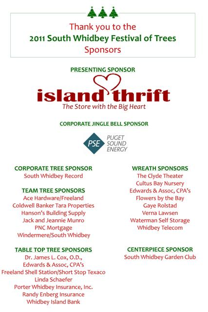 2011 Festival of Trees South Whidbey Sponsors